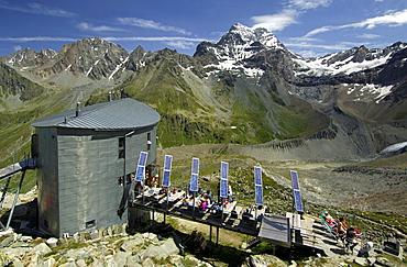 Velan Hut, Cabane du Velan, of the Swiss Alpine Club, SAC, at the foot of the Grand Combin Mountain, Valais Alps, Valais, Switzerland, Europe