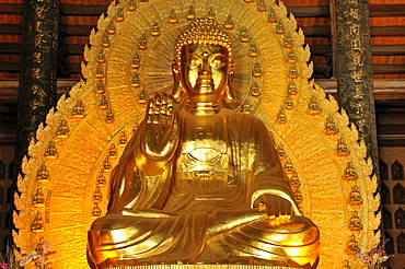 Gold-plated Buddha statue, Pagoda Chua Bai Dinh, Ninh Binh, Vietnam, Southeast Asia, Asia