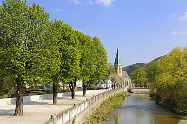 Triesting promenade and Marienkirche church, Bern, Lower Austria, Austria, Europe