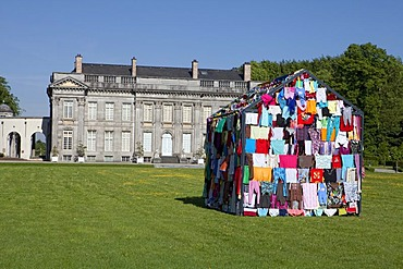 House made from colorful clothes, art installation by Loreta Visic-Washuis, CABANES 2011, Chateau de Seneffe castle, Seneffe, Hainaut province, Wallonia, Belgium, Europe
