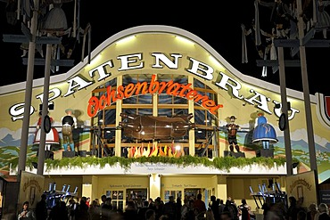 Brightly illuminated Spatenbraeu Ochsenbraterei festival tent at night, Oktoberfest 2010, Munich, Upper Bavaria, Bavaria, Germany, Europe
