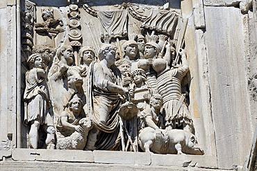 Relief on the Arco di Costantino, Arch of Constantine, Rome, Lazio, Italy, Europe