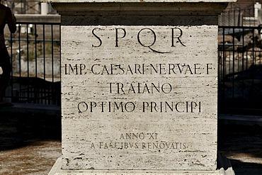 Trajan statue, marble pedesta, Via dei Fori Imperiali, Rome, Lazio, Italy, Europe