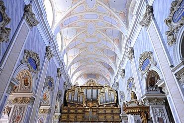 Nave with organ, Goettweig Abbey, Goettweiger Berg, UNESCO World Heritage Site Wachau, Lower Austria, Austria, Europe