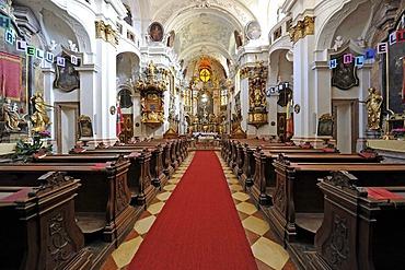High altar with the high altar painting, choir, abbey church, Augustinian monastery, Duernstein Abbey, Wachau Cultural Landscape, a UNESCO World Heritage site, Lower Austria, Austria, Europe
