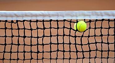 Tennis ball caught in the net