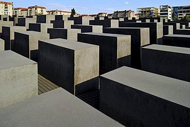 Holocaust Memorial designed by architect Peter Eisenman, Memorial to the Murdered Jews of Europe, Tiergarten, Berlin, Germany, Europe