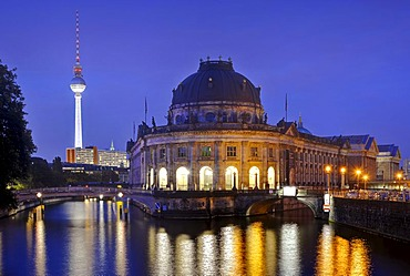 Night view at the blue hour, Bode-Museum, TV tower, Museumsinsel island, UNESCO World Heritage Site, Mitte district, Berlin, Germany, Europe