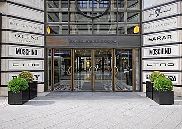 Logos of various luxury brands in front of the entrance, Friedrichstadt Passagen mall, Friedrichstrasse, Berlin, Germany, Europe