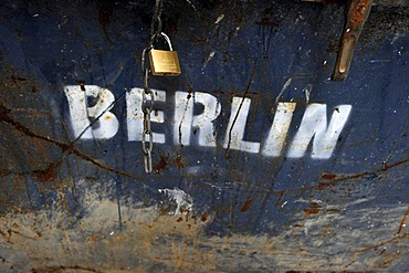 Padlock on a garbage container labeled Berlin, Berlin, Germany, Europe