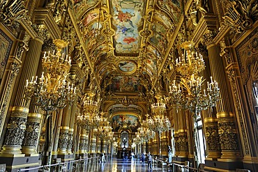 Interior, Grand Foyer with ceiling painting by Paul Baudry with motifs from music history, Opera Palais Garnier, Paris, France, Europe