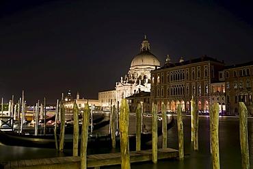 Santa Maria della Salute at night, Venice, Italy, Europe