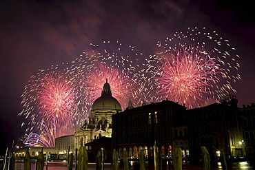 Aerial fireworks display at the Redentore Festival 2011, Venice, Italy, Europe