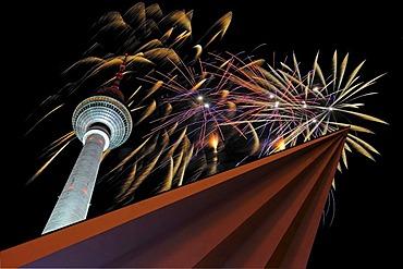 Berlin TV tower, fireworks on New Years Eve, Alexanderplatz, Berlin Germany, Europe, Composing