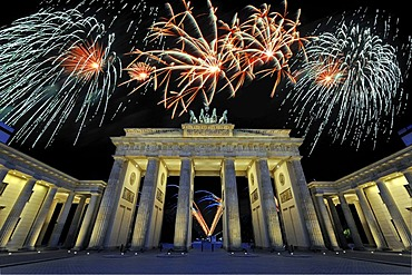 Brandenburg Gate with fireworks display, Berlin, Germany, Europe, composite