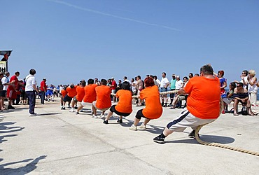 Tug of war competition, spectators cheering on the competitors, Umag, Istria, Croatia, Europe