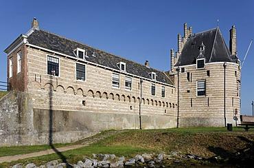 Medieval defense tower Campveerse Toren, historic town of Veere, Lake Veere, Walcheren, Zeeland, Netherlands, Europe