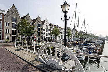 Spijkerbrug bridge, historic warehouses on the Kinderdijk, Middelburg, Walcheren, Zeeland, Netherlands, Europe