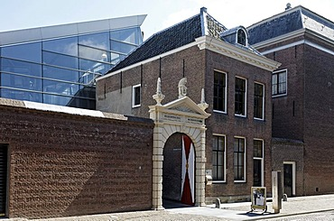 Historic doorway to Zeeuws Archief archive, Van de Perrehuis building, Middelburg, Walcheren, Zeeland, Netherlands, Europe