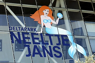 Logo with mermaid, Deltapark Neeltje Jans, amusement park at the Oosterschelde or Eastern Scheldt storm surge barrier, Zeeland, Netherlands, Europe