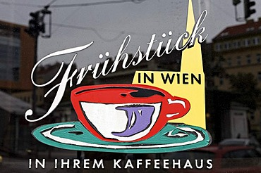 """Fruehstueck in Wien"", German for ""breakfast in Vienna"", sign at a coffee house, Vienna, Austria, Europe"