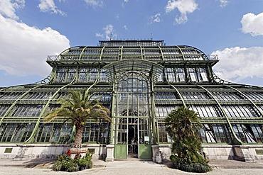 Palmenhaus greenhouse, historic iron structure, Schloss Schoenbrunn palace, Hietzing district, Vienna, Austria, Europe