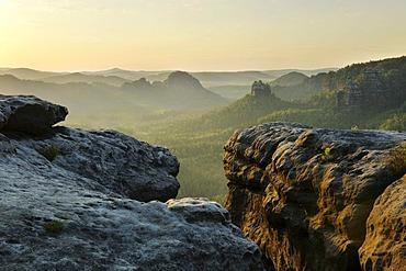 Rocky landscape, Mt. Kleiner Winterberg, Elbe Sandstone Mountains, Saxon Switzerland National Park, Saxony, Germany, Europe