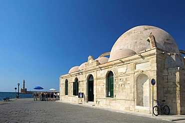 Hassan Pasha Mosque, Mosque of the Janissaries, at the port with horse-drawn carriages in Chania, Crete, Greece, Europe