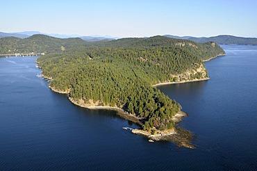 Aerial view of Razor Point, North Pender Island, Gulf Islands, British Columbia, Canada