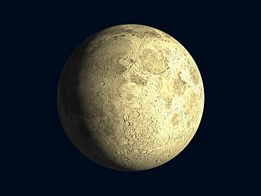 Waxing moon, craters, 3-D illustration