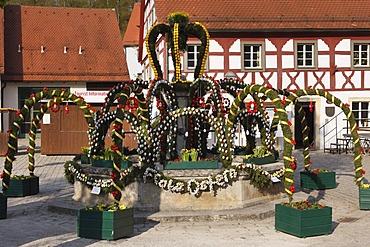 Easter fountain, Heiligenstadt, Franconian Switzerland, Upper Franconia, Franconia, Bavaria, Germany, Europe