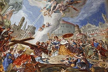 Ceiling fresco by Felix Anton Scheffler, Holy Cross Church, Landsberg am Lech, Upper Bavaria, Bavaria, Germany, Europe