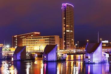 Obel Tower, Lagan Weir, Belfast, Northern Ireland, Ireland, Great Britain, Europe, PublicGround