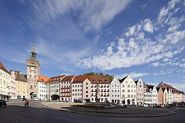 Main square with Schmalzturm tower and Marienbrunnen fountain, Landsberg am Lech, Upper Bavaria, Bavaria, Germany, Europe, PublicGround