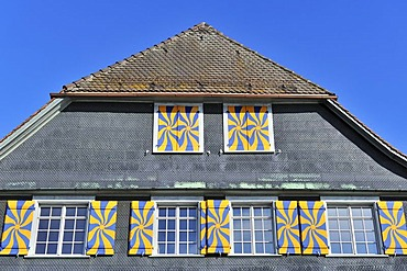 Detail, Traditional Swiss half-timbered house, Steckborn, Canton Thurgau, Switzerland, Europe