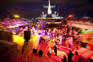 Aida Club Cruiser, disco on the deck with dancing young people, Majorca, Spain, Europe - Attention: Restricted right of use! Please ALWAYS contact the press office before publishing this picture: AIDA Cruises, Am Strande 3d, 18055 Rostock, Germany, +49 (0