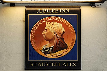 Hotel sign with a portrait of Queen Victoria, Jubilee Inn, Jubilee Hill, Pelynt, Cornwall, England, United Kingdom, Europe