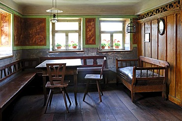 Living room with painted decoration circa 1830, Haeckerhouse building, 1706, Franconian open-air museum, Eisweiherweg 1, Bad Windsheim, Middle Franconia, Bavaria, Germany, Europe