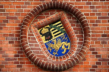 Coat of arms with the Mecklenburg bull's head and the Saxon coat of arms, mosaic on Wiligrad castle, built between 1896 and 1898, Luebstorf, Mecklenburg-Western Pomerania, Germany, Europe