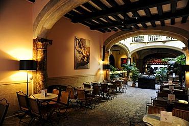 Interior decoration, Grand Cafe Cappuccino in a former mansion with patio in the Sant Miquel quarter, old town, Ciutat Antiga, Palma de Mallorca, Majorca, Balearic Islands, Spain, Europe