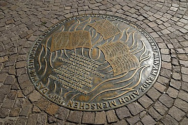 Commemorative plate for the book-burning by the Nazis, Roemerberg square, Frankfurt am Main, Hesse, Germany, Europe