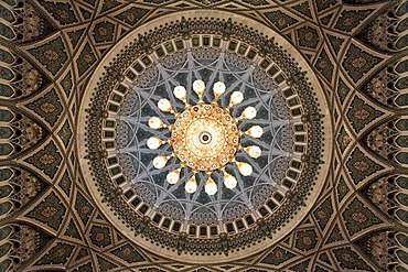 Swarowski chandelier, weight eight tons, width eight meters, height 15 meters, dome, ornaments, prayer hall men, Sultan Qaboos Grand Mosque, Muscat capital, Sultanate of Oman, gulf states, Arabic Peninsula, Middle East, Asia