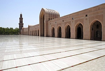 Large square with pointed arch, gates, minaret, Sultan Qaboos Grand Mosque, Muscat capital, Sultanate of Oman, gulf states, Arabic Peninsula, Middle East, Asia