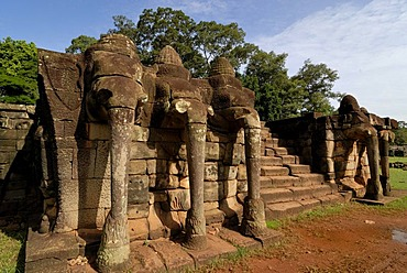 Stone elephant sculptures on the Elephant Terrace, Angkor Wat temple complex, Siem Reap, Cambodia, Indochina, Southeast Asia