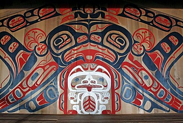 Wall painting with white grizzly and orca, community center, First Nation village of the Gitga'ata people, Tsimshian, Hartley Bay, British Columbia, Canada, North America