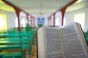 Greenlandic bible, church in Kulusuk, East Greenland, Greenland