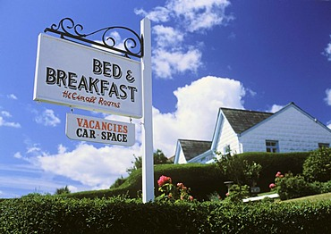 Bed and Breakfast sign, Mevagissey, Cornwall, England, United Kingdom, Europe