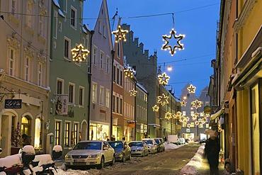 Street with Christmas decorations in winter, Landshut, Lower Bavaria, Bavaria, Germany, Europe