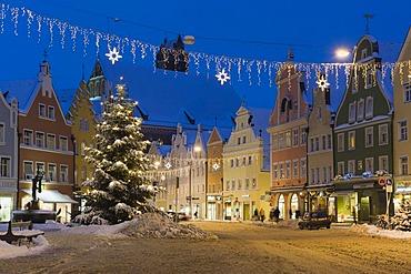 Christmas tree in winter, old town, Landshut, Lower Bavaria, Bavaria, Germany, Europe