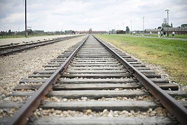 Train tracks, concentration camp Auschwitz-Birkenau, Oswiecim, Poland, Europe